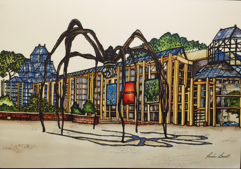 This print shows the famous Maman sculpture outside of the National Gallery of Canada. The imposing arachnoid sculpture casts a strange shadow on the ground. The outer walls of the gallery are made of bluish glass with yellow support struts. This print recreates the rich watercolours of the original painting. The artist's signature is at the bottom right.