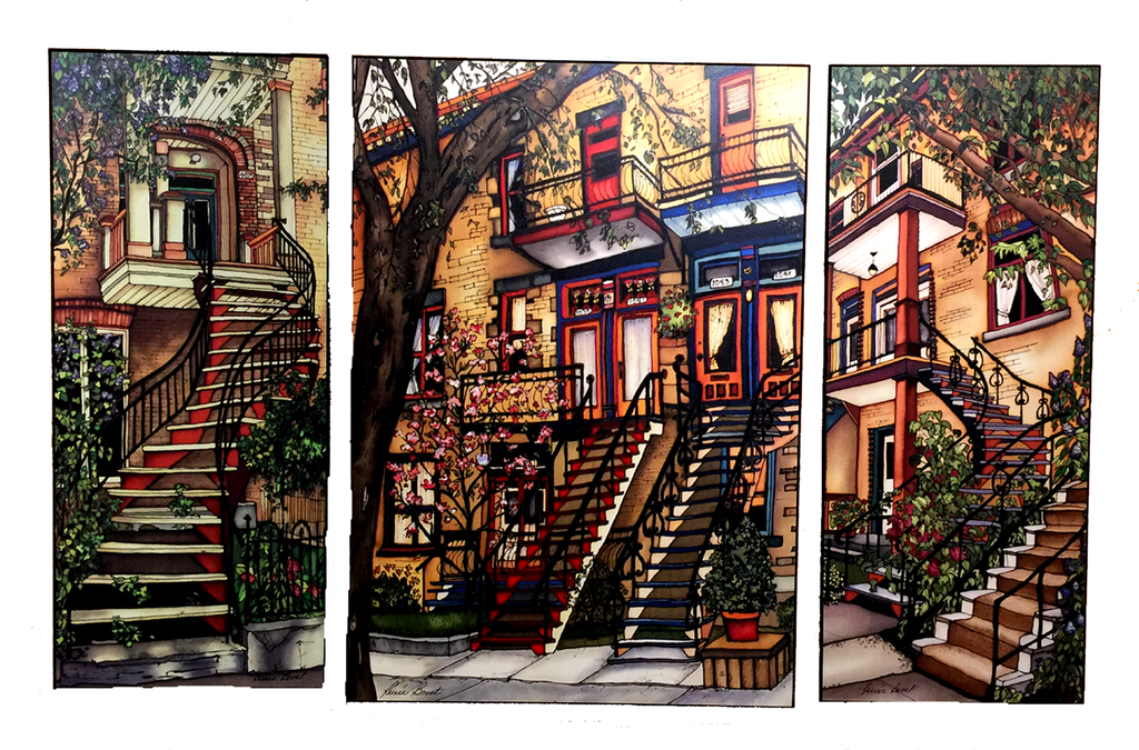 "A trio of prints including Montreal Staircase print 102 ""Summer on the plateau"", print 127 ""Marianne street"", and print 95 ""Fabre street"""