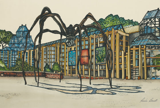 This magnet shows the famous Maman sculpture outside of the National Gallery of Canada. The imposing arachnoid sculpture casts a strange shadow on the ground. The outer walls of the gallery are made of bluish glass with yellow support struts. The picture is richly coloured. The artist's signature is at the bottom of the magnet.