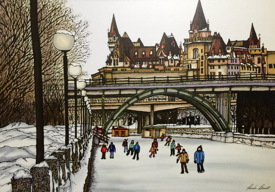 This rectangular magnet shows Ottawa's Laurier Bridge in winter. A small crowd of skaters travels along the frozen Rideau Canal. The canal is lined with snow covered street lights and dark leafless trees. The picture is richly coloured. The artist's signature is at the bottom right.