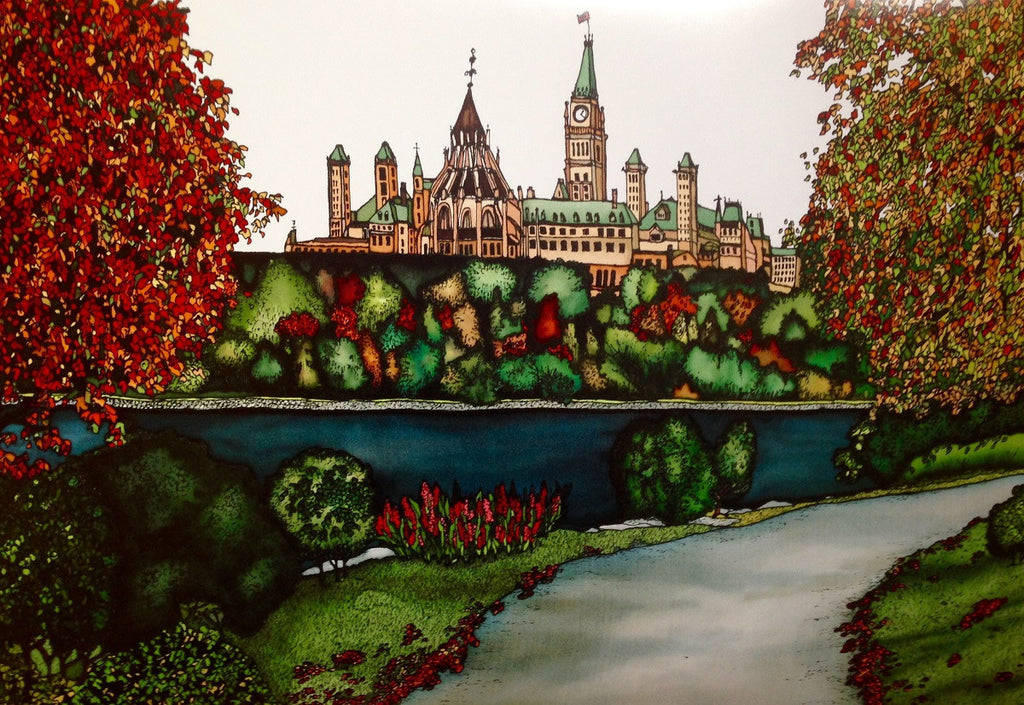This print shows the Parliament building from across the Ottawa River. The river is dark blue and lined with trees, some of which are beginning to show their autumn colours. Curving up from the bottom to the right of the picture is a paved footpath. This print recreates the rich watercolours of the original painting.