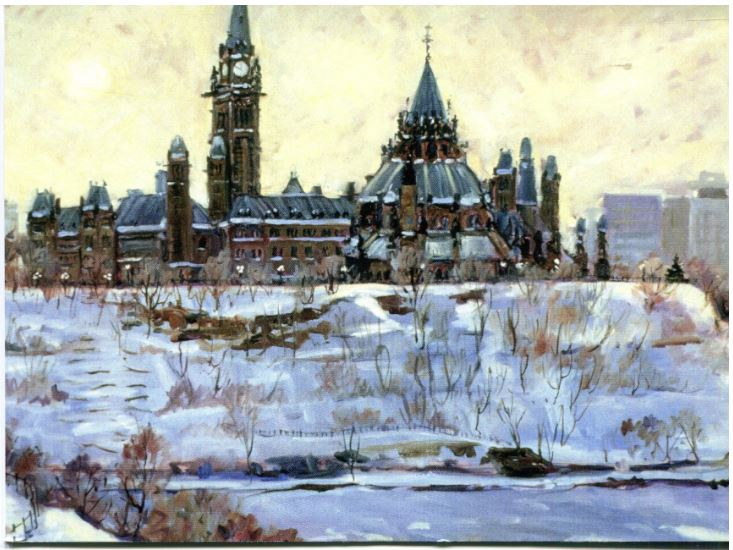 This Canadian art card is a winter seen showing the view of Parliament Hill from the National Gallery. Tragically, the Gallery itself is not visible in this painting. The afternoon sun casts a faintly yellow light on the snowy field. At the bottom of the picture the is the frozen Ottawa river. Shirley Van Dusen uses a painterly art style, giving this piece a classical feeling.