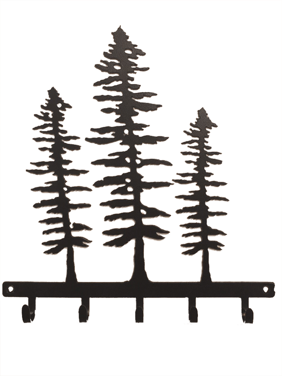 This metal sculpture shows the matte black silhouette of three Sitka pine trees. Each tree is a different size, with the largest in the middle and smallest at right. The trees are tall but slim. Their short, broad branches are about the same length along the whole tree, except at the top where they form a point. At the base of the trees is a narrow metal strip from which five hooks emerge. The metal strip has two holes punched through it, allowing the piece to be nailed or screwed into a wall.