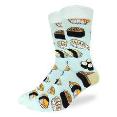 These fun socks feature various types of sushi on a light blue background with a light green heel. Spandex added to the 85% cotton blend gives the socks the perfect amount of stretch to hug your feet.
