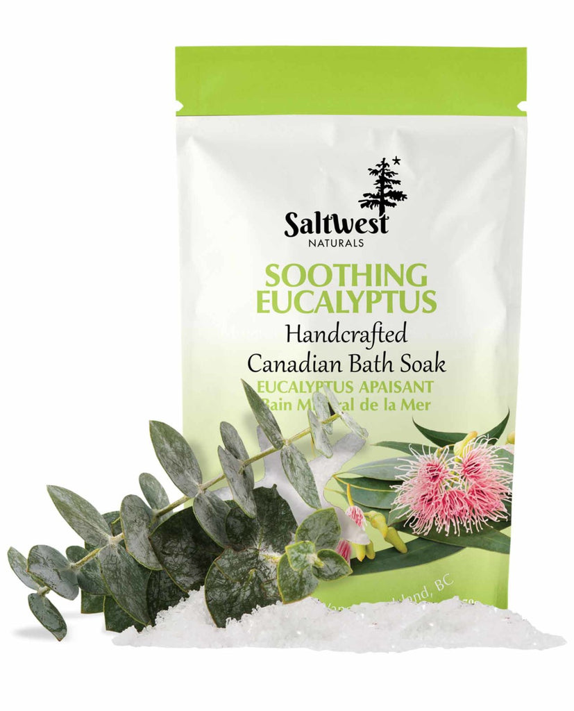 70 grams of Soothing Eucalyptus bath soak in a white and green standing bag.