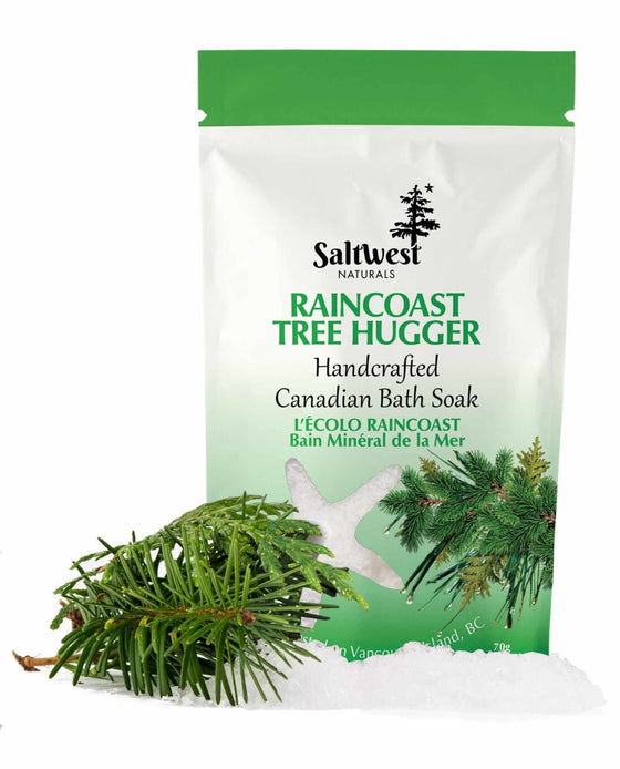 70 grams of Raincoast Tree Hugger bath soak in a white and green standing bag.