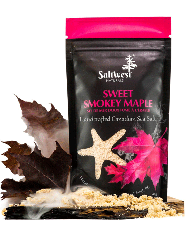 These Canadian-made salts are handcrafted from the waters off of the West Coast of Vancouver Island. This salt is smoked in small batches using hardwood Maplewood which is then blended with real Canadian Organic sweet maple. All natural, vegan, and gluten free. Ingredients: Certified Organic Canadian Maple Sugar, maplewood smoked Canadian sea salt. Each bag contains 40g of sea salt.