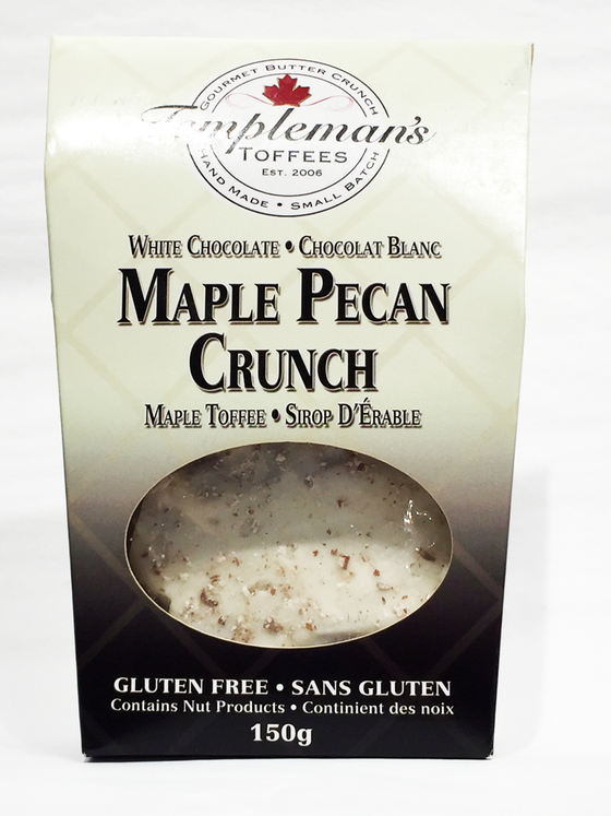 """Maple Pecan Crunch"" is a rich buttercrunch toffee combined with Canadian maple syrup, pecans, and white chocolate. This product is a Canadian-made treat containing 150g of toffee in each box."