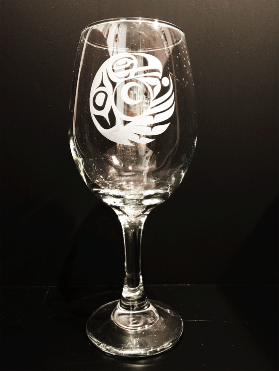 The Eagle - Etched Wine Glass