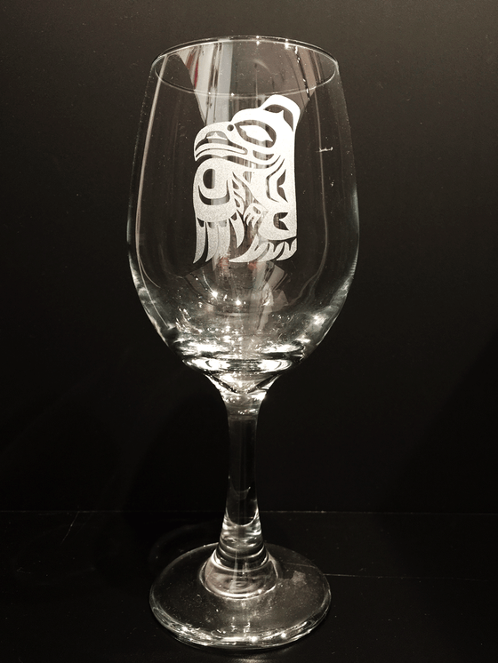 The Raven - Etched Wine Glass