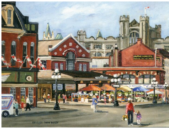 This Canadian art card shows the Byward market on a sunny day. Several people are walking around the red brick buildings. Street vendors have set up awnings and tables to sell plants and produce. Shirley Van Dusen uses a painterly art style, giving this piece a classical feeling.