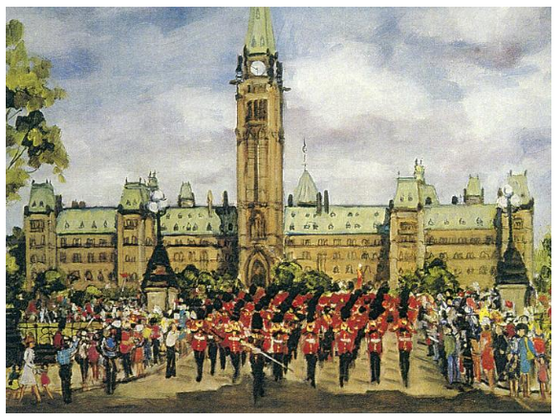 This Canadian art card shows the front of Parliament Hill and the Peace Tower. A group of soldiers wearing ceremonial outfits are performing the changing of the guard. A crowd is gathered at the road side to watch them. Shirley Van Dusen uses a painterly art style, giving this piece a classical feeling.