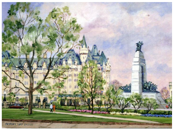 This Canadian art card shows Confederation square and the Canadian National War Memorial on a bright clear day. The square is surrounded by decorative trees and flowers. A couple walks down a side walk beside the memorial. Shirley Van Dusen uses a painterly art style, giving this piece a classical feeling.