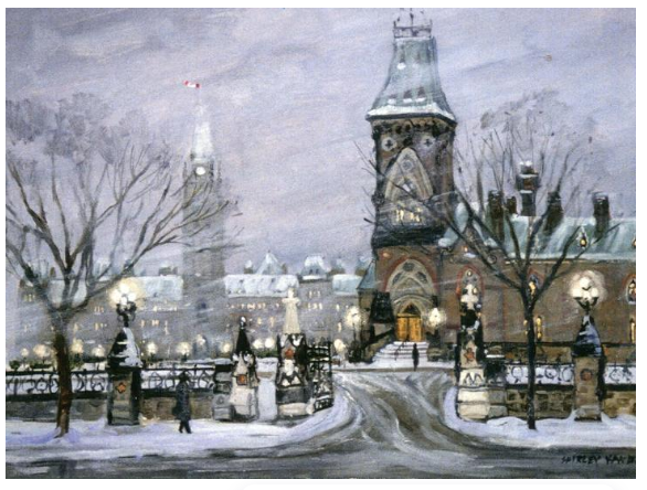 This Canadian art card shows part of Parliament Hill's East Block, with Center block visible in the background. This scene takes place on a moody, windy winter's evening. Careful brushwork shows the intense snowy wind blowing through the area. However, the numerous street lamps surrounding the parliament add brightness to the scene. Shirley Van Dusen uses a painterly art style, giving this piece a classical feeling.