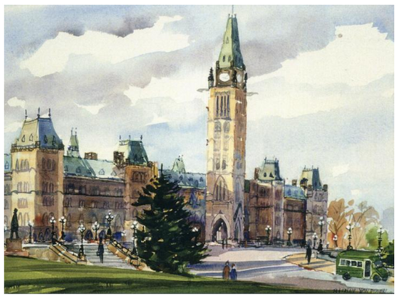This Canadian art card shows the front of Parliament hill. The sun is low in the sky and casts soft shadow on the Center block, but the Peace tower is still well lit. A few people walk around the front of the hill. Shirley Van Dusen uses a painterly art style, giving this piece a classical feeling.