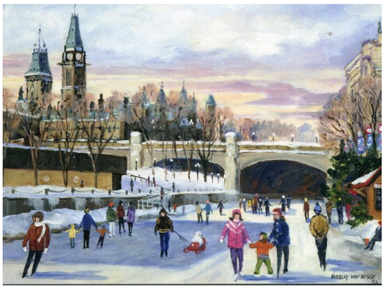 This Canadian art card shows several people skating on the frozen Rideau Canal. Several families have brought their children, and are helping the children to stand or pulling them on sleighs. A large bridge, possibly Mackenzie King Bridge, passes over the Canal. Shirley Van Dusen uses a painterly art style, giving this piece a classical feeling.