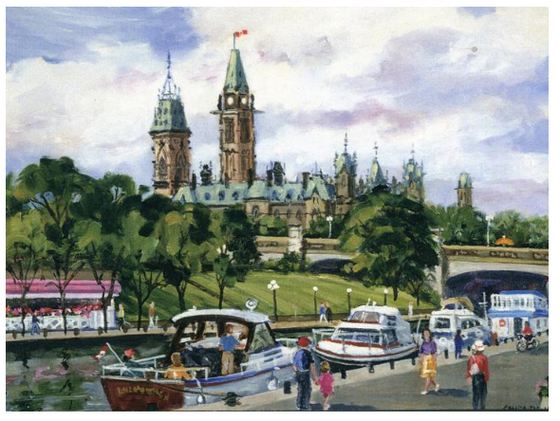This Canadian art card shows several small boats docked on the Rideau Canal. There is a bandstand with a red roof on the far side of the Canal, and the Peace Tower can be seen in the distance. Shirley Van Dusen uses a painterly art style, giving this piece a classical feeling.