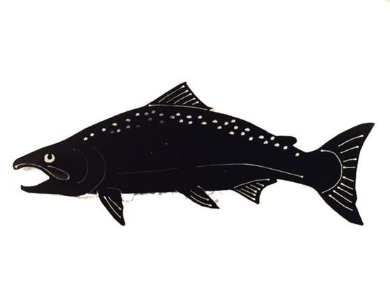 This metal sculpture shows the matte black silhouette of a realistic salmon. Its wide mouth and arched back suggest it is preparing to spawn. Delicately punched metal provides the details of its fins and the speckling across its back.