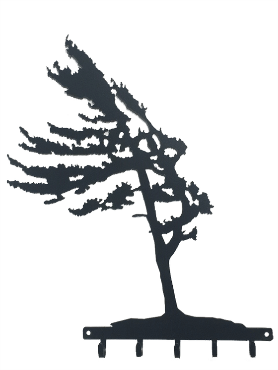 This metal sculpture shows the matte black silhouette of a pine tree being blown in the wind. It leans slightly to the left, branches flowing elegantly. Its straight trunk and fully foliage give an impression of hardiness and strength despite the strong wind. At the base of the tree is a metal strip from which five hooks emerge. The metal strip has two holes punched through it, allowing the piece to be nailed or screwed into a wall.