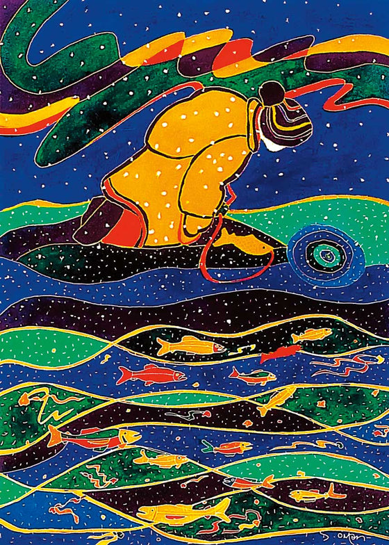 A person wearing a yellow snowsuit and a hat kneels at the edge of a frozen river. They have caught a fish on a fishing line. To their right is an ice fishing hole. Beneath the figure is a multicoloured abstract river filled with fish. The picture is covered with white spots, suggesting snow. This Canadian Indigenous print was painted by Dawn Oman, a Dene artist from Yellowknife, North West Territories.