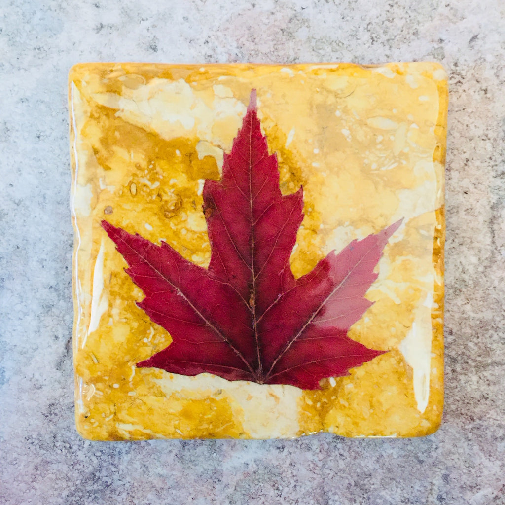 Yellow Marble Maple Leaf Coaster