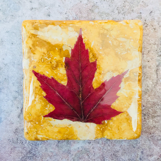A square yellow piece of marble featuring a single red maple leaf.