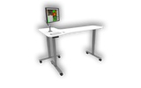 Adjustable height desks for ophthalmic equipment.