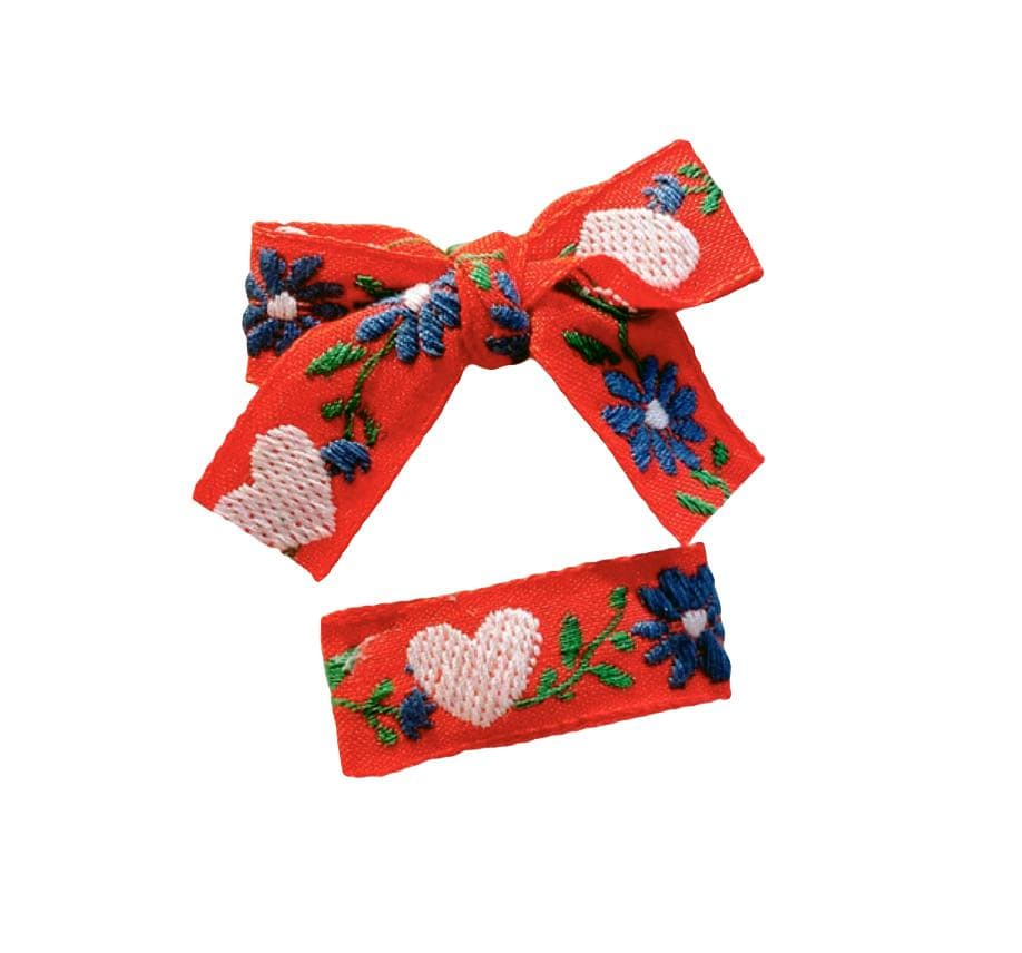 Handmade Red Embroidered Ribbon Bow & Barrette - Little Miss Marmalade