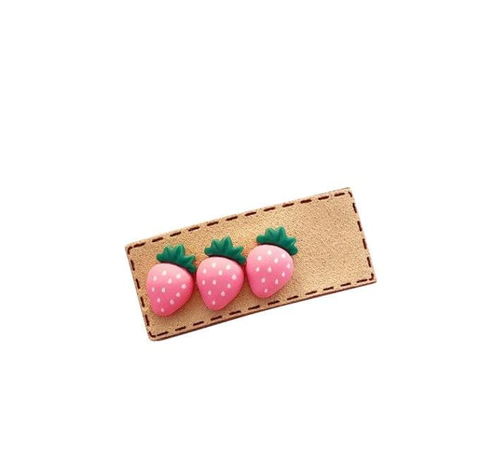 Handmade Pink Strawberry Hair Clip - Little Miss Marmalade