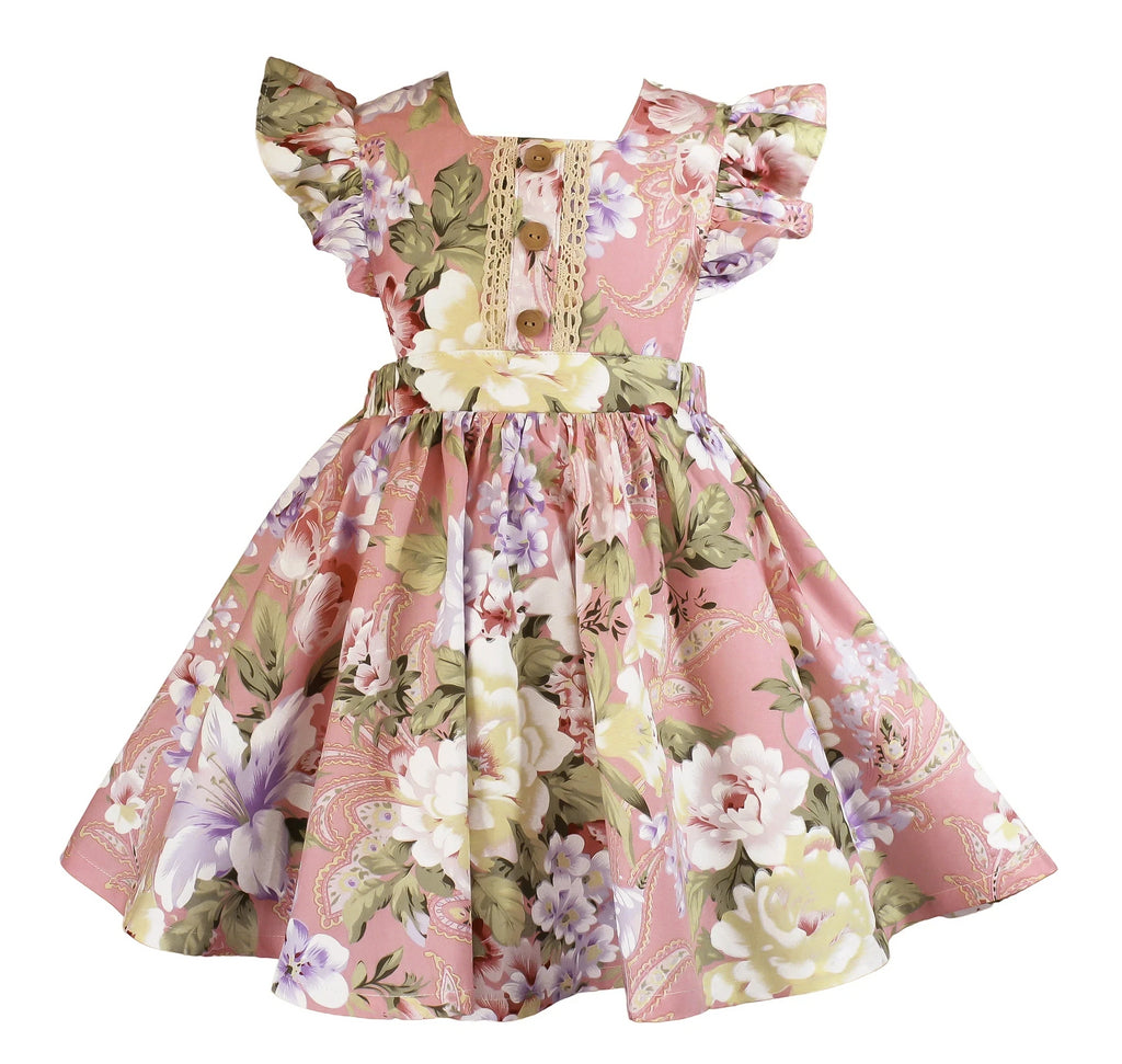 Nana's Vintage Rose Pinafore Dress - Little Miss Marmalade