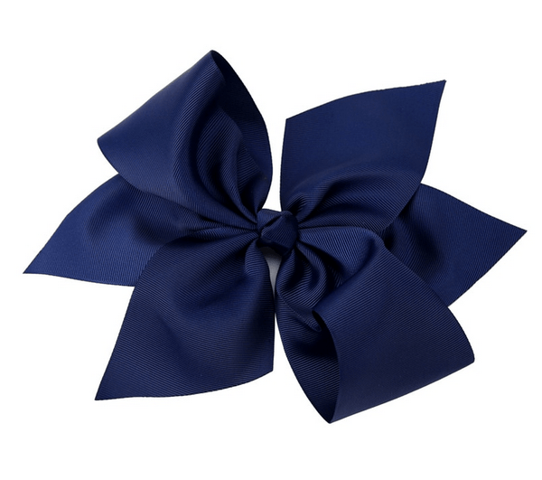 "10"" Navy Grosgain Hair Bow - Little Miss Marmalade"