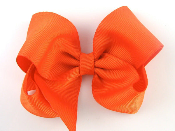 "Girls Accessories - 4"" Inch Orange Hair Bow Hazel The Hedgehog & Lillybelle Bow"