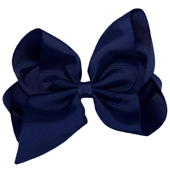 "6"" Navy Blue Hair Bow - Little Miss Marmalade"