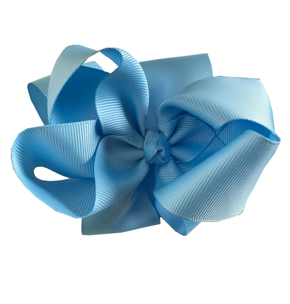"Sky Blue Grosgrain Hair Clip with 4""  Bow - Little Miss Marmalade"