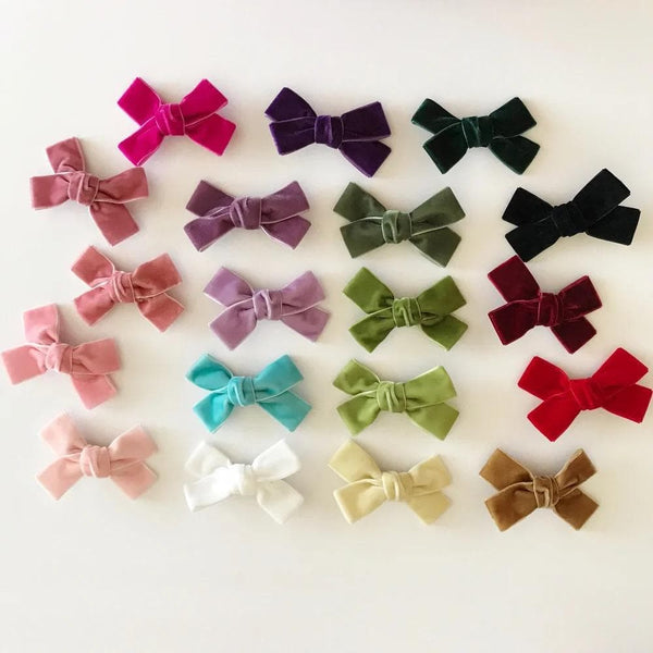 "Velvet Hair Bows w/ Clip 3"" - Little Miss Marmalade"