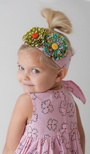 Girls Accessories - Wishful Pink Floral Headband/Sash W/Rosettes