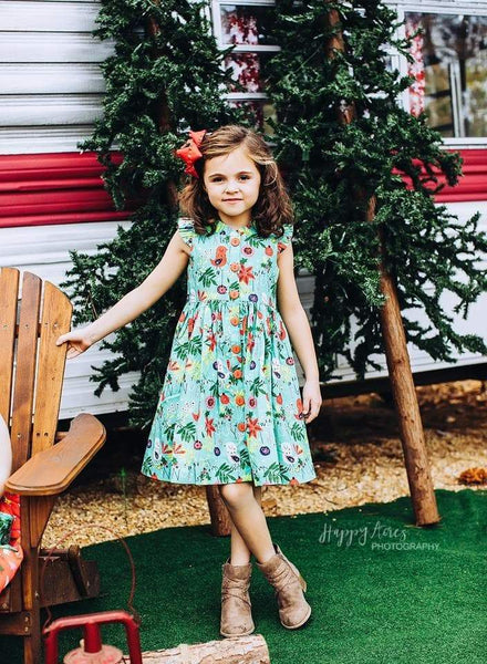 Girls Dress - Be Merry Holiday 2019 Teal Vintage Glen Park Dress