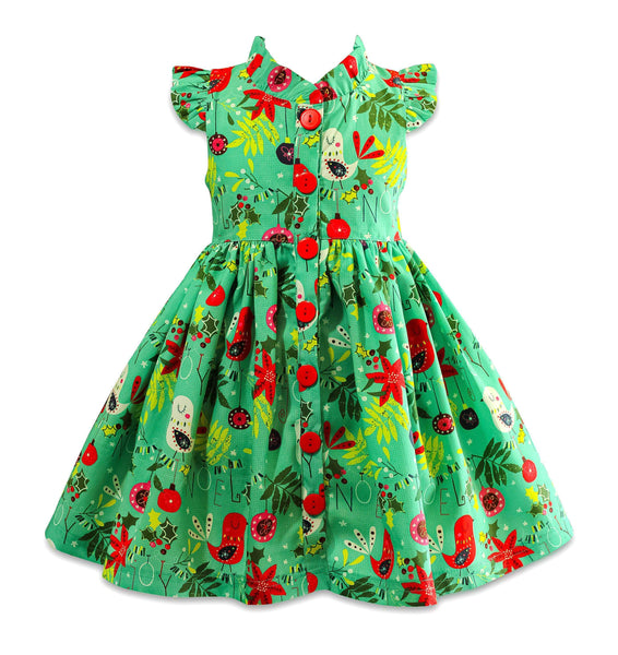 Be Merry Holiday 2019 Teal Vintage Glen Park Dress - Little Miss Marmalade
