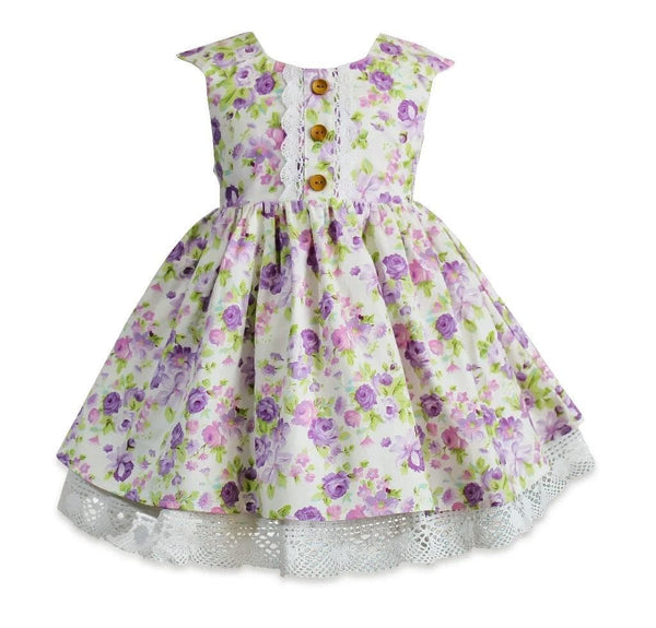 Beatrice Lilac Rose Dress - Little Miss Marmalade
