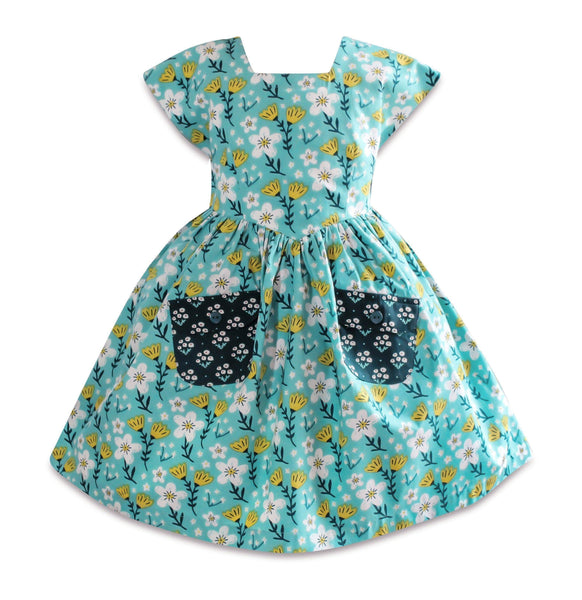 Blue Bird Aunt Ticka Retro Dress - Little Miss Marmalade