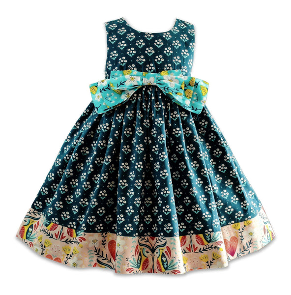 Blue Bird Bow Dress - Little Miss Marmalade