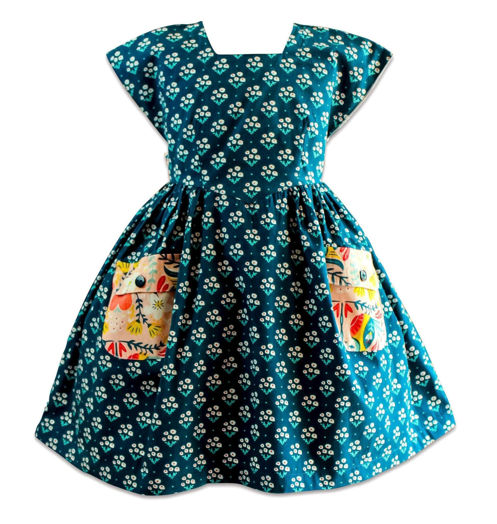 Blue Bird Navy Aunt Ticka Dress - Little Miss Marmalade