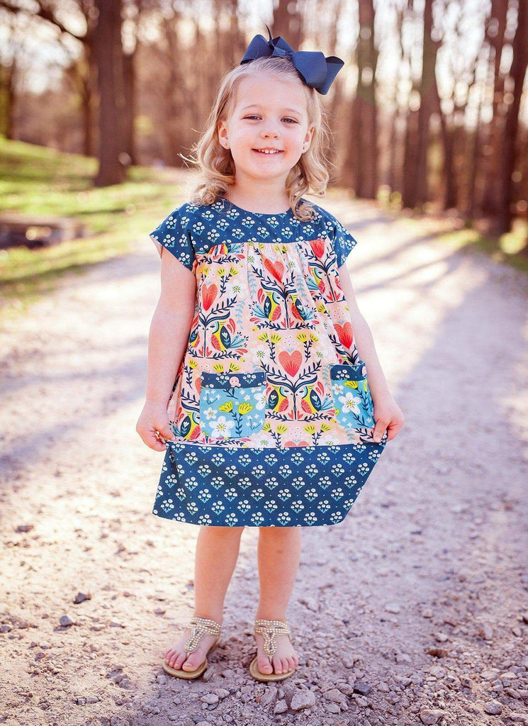Blue Bird Play Date Dress - Little Miss Marmalade