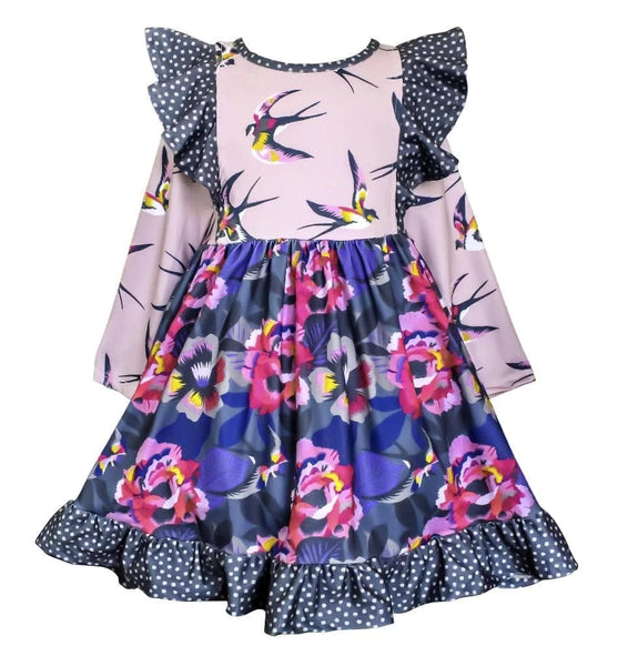 Fall Lilac Garden Dilly Dress - Little Miss Marmalade