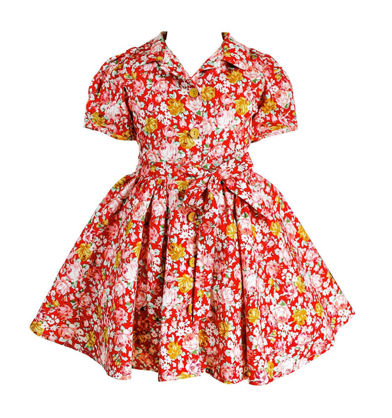 Fall Retro Style Floral Dress - Little Miss Marmalade
