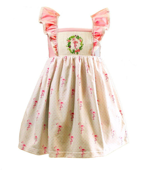 Flamingo Pinnafore Dress - Little Miss Marmalade