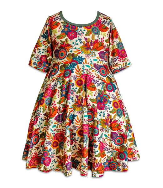 Garden Party Autumn Flowers Dress - Little Miss Marmalade