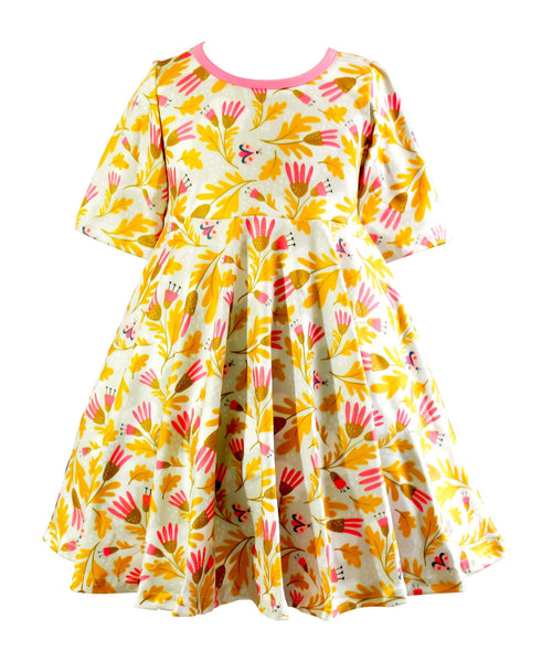 Garden Party Milk Silk Modern Flower Dress - Little Miss Marmalade