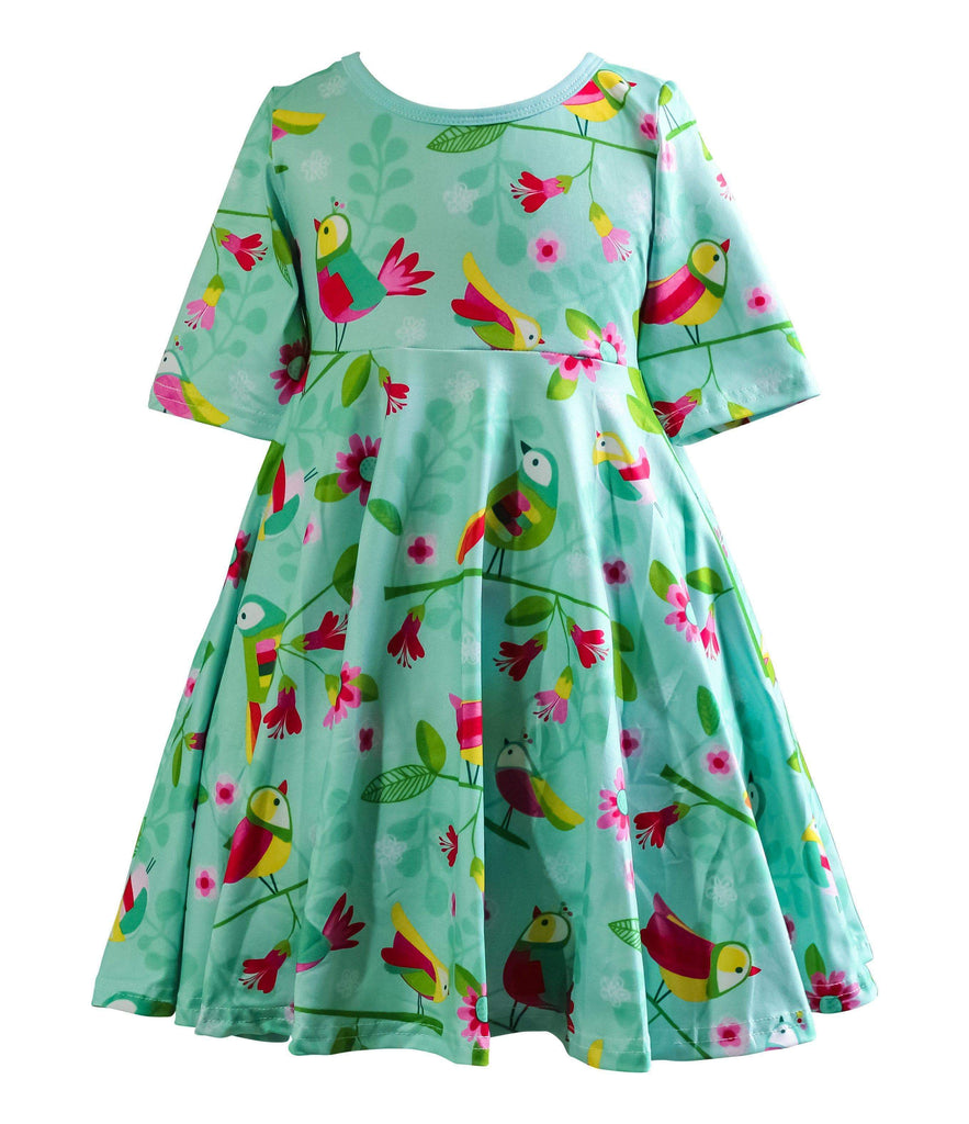 Garden Party Rainbow Parrot Skater Dress - Little Miss Marmalade