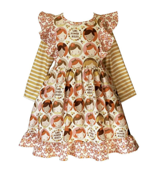 """Girl Power Rules"" Dilly Dress - Little Miss Marmalade"